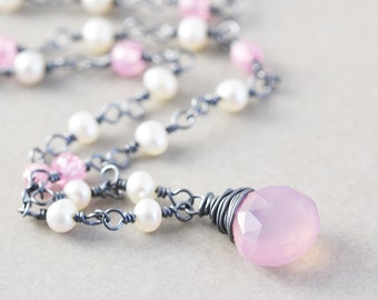 Pink Chalcedony Necklace, Pearl Strand Necklace, Blush, Pink White Necklace
