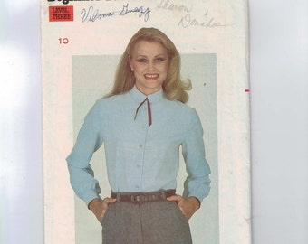 1980s Vintage Sewing Pattern Butterick 3442 Misses Button Front Blouse Size 10 Bust 32 1/2 1980s 80s