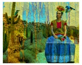 Frida Kahlo Instant Digital Download Love of Mexico Fine Art Print Original  Signed Photomontage Modern Wall Home Decor Fusion Painting