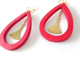Red brass geometric earrings