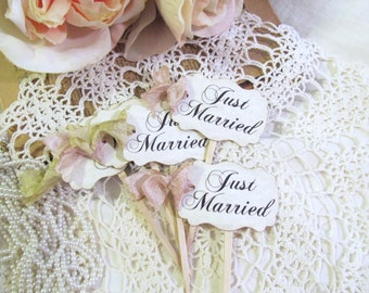 Just Married Wedding Cupcake Toppers Party Picks - Set of 12 or 18 - Choose Ribbons - Vintage Rustic Shabby Style