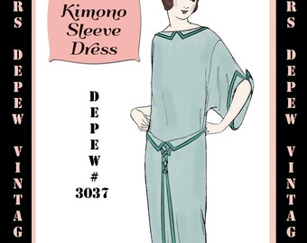 Vintage Sewing Pattern 1920's Flapper Kimono Sleeve Dress E-book Depew 3037 -INSTANT DOWNLOAD-