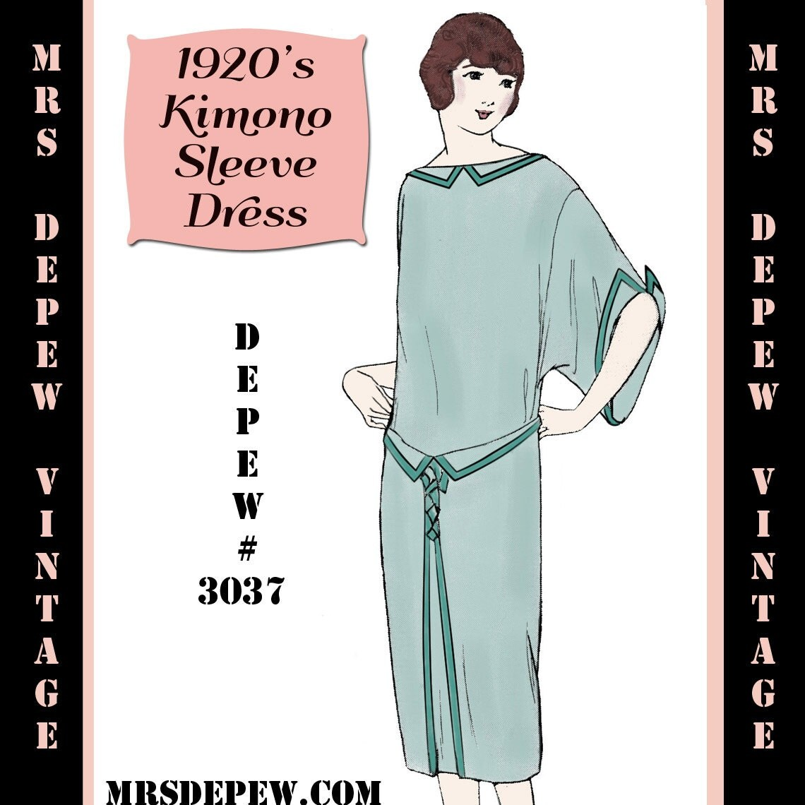 Vintage Sewing Pattern 1920's Flapper Kimono Sleeve Dress