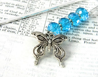 Pretty Butterfly Bookmark with Aqua Blue Glass Beads Silver Color Shepherd Hook Bookmark