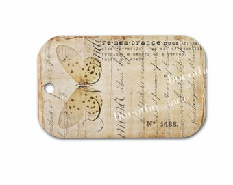 Butterfly Gift Tag, Dictionary Definition Remembrance Tag, Friendship tag, Paper Ephemera Butterfly Gift Tag, Remember Tag