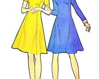 1970s Dress Pattern McCalls 3649 Mod Fit and Flare Princess Seam Dress Womens Vintage Sewing Pattern Bust 32 1/2 Uncut