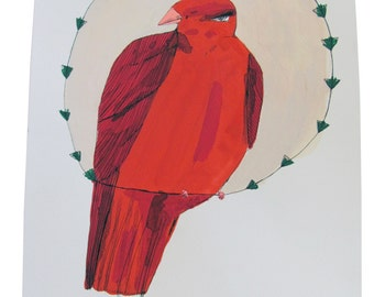 Red bird, painting on paper