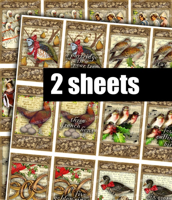 12 DAYS of XMAS - Digital Printable Collage Sheet - Vintage Christmas Carol Images for Labels, Gift Tags, Hang Tags, Advent Calendar