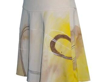 Handpainted Organic Stretch Silk Twill Skirt - size 8