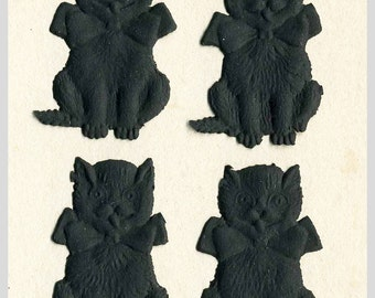 8 Black Cat Halloween Die Cuts - Set of 8 Black Cats with Bow Ties - Made In Germany Matte Black Cat - Paper Crafting Supplies Cards ATCs
