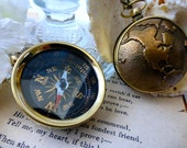 World Travel Compass for Him or Her - Unisex Steampunk Compass - Travel Long Necklace