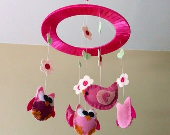 Baby Crib Mobile - Owls and Birds- Pink Owl and Bird Mobile