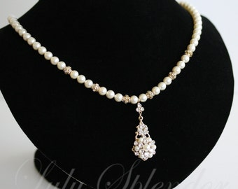 Wedding Necklace Gold Pearl Bridal Necklace Pearl Crystal Rhinestone Art Deco Pendant Necklace PARIS PENDANT