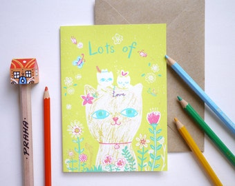 Kitty cats Lots of Love - hand printed I Love you, birthday, New baby Card
