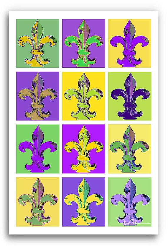 13x19 Quot Fleur De Lis Art Quot Mardi Gras Fleurs Quot Signed And