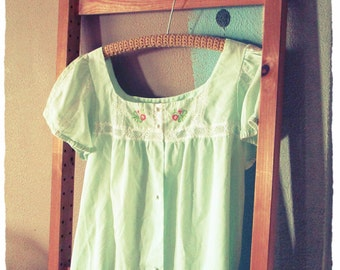 VINTAGE NIGHTGOWN EMBROIDERED Mint Green