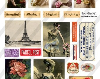 Digital Collage Sheet  Ephemera and Lady Images  (Sheet no. O174) Ephemera-Instant Download