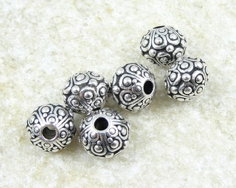 Large Hole Beads Silver Beads for Leather TierraCast OASIS Beads 2.5mm ID Antique Silver Bali Beads Tierra Cast Pewter Beads  (PS196)