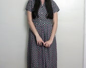 1940s SILK Green and Pink Polka Dot Dress Size S