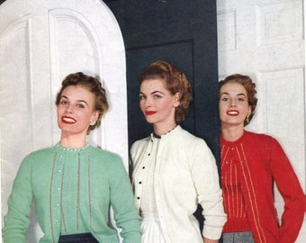 """1952 Star Sweater Book """"Sweaters of Nylon and Wool"""" pattern PDF"""