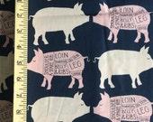 Pigs Navy Cotton Fabric