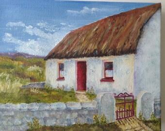 Original Art Oil Of Irish Cottage Small Format Ireland