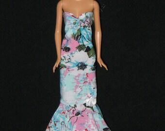 Barbie Doll Dress Handmade Blue Pink Red Black  Sheath Dress