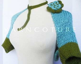The OCEAN and EARTH Teal and Olive Hand Knit Shrug With Accessories- Fits Large Sizes To 2x Plus Sizes