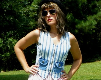SALE 1980s Vintage Roughrider Denim Vest Striped Denim Zip Up Vest with Pockets Cropped Vest Size Extra Small