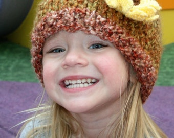 Sale- ready to ship-Sunflower Bulky Knit Hat Size 18 inch 12-18 month