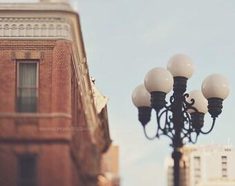 San Diego photography, Gaslamp Quarter photograph, downtown San Diego, romantic iron lamp post, blue, dreamy California travel, Myan Soffia