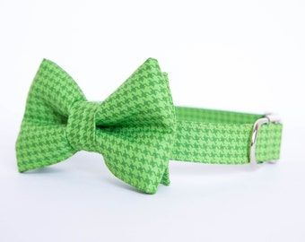 Dog Bow Tie Collar (Bowtie) - Green Houndstooth