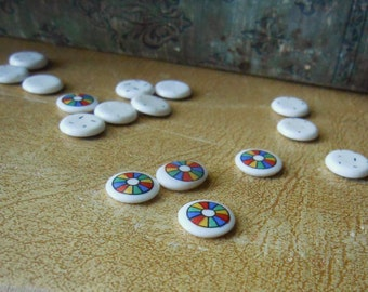 8 tiny vintage  color wheel cabs round cabs beach ball pride made in japan cabs 10 mm round cabs - vintage jewelry supplies