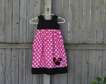 Pink Minnie Mouse Dress, Reverse Knot Dress, Minnie Knot Dress, Perfect for Minnie Mouse or Mickey Mouse Birthday Party!