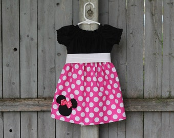 Pink Minnie Dress,  Disney Mickey Minnie Mouse Peasant Dress, Pink Minnie Mouse Birthday Dress