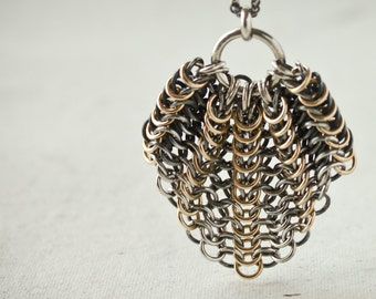 Chainmaille Silver and Gold Pendant Necklace, Oxidized Argentium Sterling Gold Filled, on 1.7mm Wheat Chain Lobster Clasp 18 22 28 26 inch