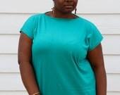 Vintage 80's Tube Dress //  XL Turquoise T-shirt Dress //