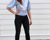 Vintage Chambray Striped Blouse // Eyelet Lace Ruffle Shirt // Puff Sleeve Prairie Blouse