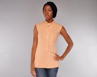 Vintage Lilli Rubin Tunic Top // Sleeveless Textured Sweater // L