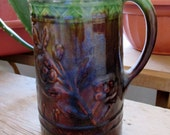 Vintage Green and Brown Glaze Milk or Water Pitcher 8 Inches tall