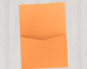 10 Flat Pocket Enclosures - Oranges - DIY Invitations - Invitation Enclosures for Weddings and Other Events