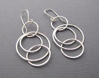 Silver Hoops. Sterling Silver Circle Earrings. Silver Dangle Hoop Earrings. Handmade Jewelry.