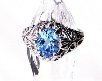 Swiss Blue Topaz Filigree Gemstone Sterling Silver Ring Size 7.5