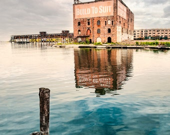Build to Suit - Industrial, Old Building, Art Photography, Color Print, Water Reflections, Abandoned, Free Shipping