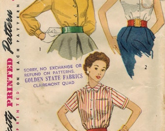 RESERVED 1950s Simplicity 4256 Vintage Sewing Pattern Jr Misses & Misses Blouses Size 13 Bust 31, Size 14 Bust 32, Size 18 Bust 36