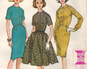 1960s McCall's 7439 Vintage Sewing Pattern Misses Shirtwaist Dress, Full Skirt Dress, Sheath Size 16 Bust 36