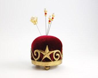 Pincushion 'Star'  brass base and deep red velvet