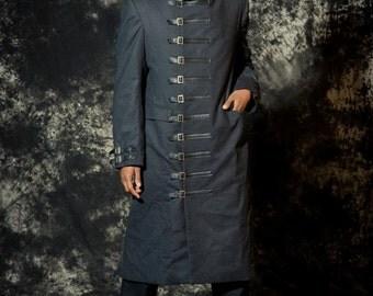 Mens Wool Coat  Buckle Closure - Diselpunk Mobster - Wool Winter Jacket -Custom to Order