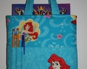 Crayon Tote Bag, Tote Bag, Crayon Holder, Disney, Little Mermaid Crayon Bag, Ready to Ship