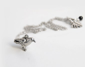 Silver Raven Necklace | Cute Crow Necklace | Dark Silver Bird Necklace